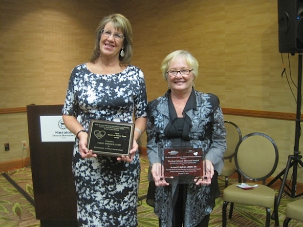 Award recipients Carol Heinisch and Jo Ann McFall